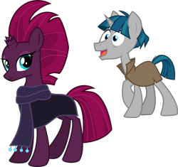 Size: 6342x5956 | Tagged: safe, alternate version, artist:cloudyglow, artist:melisareb, edit, fizzlepop berrytwist, stygian, tempest shadow, pony, unicorn, my little pony: the movie, shadow play, .ai available, .svg available, absurd resolution, cloak, clothes, female, happy, inkscape, looking at you, male, mare, open mouth, scarf, shipping, show accurate, simple background, stallion, straight, tempgian, transparent background, typo in the description, vector