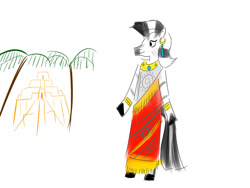 Size: 1024x768   Tagged: safe, artist:horsesplease, zecora, zebra, anthro, babylon, babylonian, clothes, doodle, dress, history, pun, ziggurat