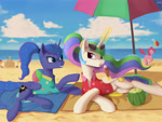 Size: 4724x3543 | Tagged: safe, artist:lin feng, apple bloom, pinkie pie, princess celestia, princess luna, scootaloo, sweetie belle, alicorn, earth pony, pegasus, pony, unicorn, beach, beach umbrella, cutie mark crusaders, duo focus, food, high res, ice cream, ponytail, sandcastle, sports, sunglasses, volleyball
