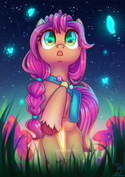 Size: 1600x2264   Tagged: safe, artist:musicfirewind, sunny starscout, butterfly, earth pony, pony, g5, badge, braid, female, flower, grass, mare, night, night sky, open mouth, raised hoof, sky, solo, stars, unshorn fetlocks