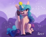 Size: 1500x1200 | Tagged: safe, artist:silentwulv, izzy moonbow, pony, unicorn, g5 movie, cloven hooves, cute, female, g5, horn, horn impalement, hornball, mare, one eye closed, signature, solo, sports, tennis ball