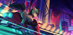 Size: 3000x1443 | Tagged: safe, artist:redchetgreen, oc, oc only, pegasus, pony, butt, city, cutie mark, cyberpunk, high res, highway, motorcycle, plot, solo, vehicle