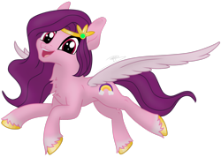 Size: 2052x1457 | Tagged: safe, artist:soctavia, pipp petals, pegasus, pony, g5, chest fluff, female, flying, happy, jewelry, looking at you, mare, open mouth, simple background, solo, spread wings, tiara, transparent background, unshorn fetlocks, wings