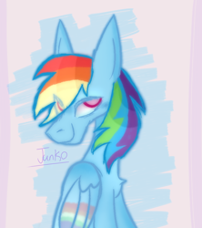 Size: 800x900 | Tagged: safe, artist:junko, rainbow dash, pegasus, pony, art, chest fluff, cute, dashabetes, digital art, doodle, eye clipping through hair, female, folded wings, looking offscreen, mare, signature, sketch, smiling, solo, wings