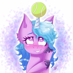 Size: 2297x2297   Tagged: safe, artist:galaxy swirl, izzy moonbow, pony, unicorn, g5 movie, spoiler:g5, spoiler:g5 movie, abstract background, blushing, ear fluff, female, g5, grin, horn, horn impalement, hornball, looking up, mare, smiling, solo, teeth, tennis ball