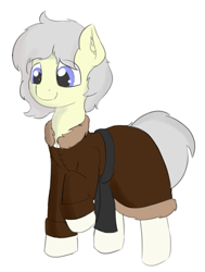 Size: 1136x1504   Tagged: safe, artist:czaroslaw, oc, oc only, oc:blazing mist, earth pony, clothes, coat, commission, male, raised hoof, simple background, socks (coat marking), solo, stallion