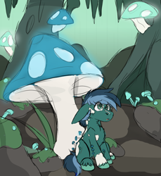 Size: 1272x1388   Tagged: safe, artist:rokosmith26, oc, oc only, mushroom pony, original species, pony, background, cave, cavern, chest fluff, floppy ears, fluffy, green eyes, hoof fluff, looking up, male, markings, moss, mushroom, open mouth, sitting, sketch, solo, stalactites, stallion, tail