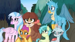 Size: 681x387 | Tagged: safe, artist:i.likenumbers123, gallus, ocellus, sandbar, silverstream, smolder, yona, changedling, changeling, dragon, earth pony, griffon, hippogriff, pony, yak, non-compete clause, female, floppy ears, frown, lidded eyes, male, ocellus is not amused, outdoors, raised eyebrow, scene interpretation, smolder is not amused, student six, unamused, yona is not amused