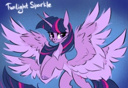Size: 2048x1406 | Tagged: safe, artist:hydrargyrum, twilight sparkle, alicorn, seraph, seraphicorn, cherub, four wings, multiple wings, rearing, simple background, smiling, spread wings, twilight sparkle (alicorn), wings