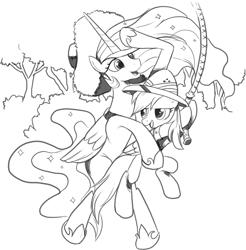 Size: 1216x1234 | Tagged: safe, artist:nauyaco, daring do, princess celestia, alicorn, pegasus, pony, black and white, duo, ethereal mane, female, grayscale, hat, jungle, lineart, mare, monochrome, rope, sun hat, swinging, windswept mane