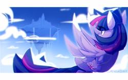 Size: 4000x2509 | Tagged: safe, artist:nekosnicker, twilight sparkle, alicorn, pony, cloud, eye clipping through hair, female, flying, mare, sky, solo, twilight sparkle (alicorn)