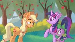 Size: 4096x2301 | Tagged: safe, artist:littmosa, applejack, spike, twilight sparkle, earth pony, unicorn, mlp fim's tenth anniversary, friendship is magic, season 1, scene interpretation