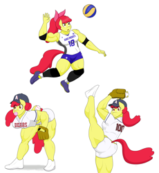 Size: 2904x3160 | Tagged: safe, artist:matchstickman, apple bloom, earth pony, anthro, plantigrade anthro, apple brawn, baseball, clothes, female, high res, muscles, muscular female, shorts, simple background, solo, sports, white background