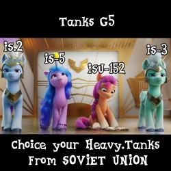 Size: 1100x1100 | Tagged: safe, artist:edy_january, izzy moonbow, sunny starscout, earth pony, pony, unicorn, spoiler:g5, book, g5, heavy tanks, is-2, is-3, is-5, isu-152, meme, royal guard, soviet union, tank destroyer, world of tanks, world of tanks blitz