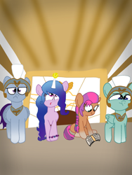 Size: 1080x1440 | Tagged: safe, artist:crossovercartoons, izzy moonbow, sunny starscout, earth pony, pegasus, pony, unicorn, g5 movie, spoiler:g5, spoiler:g5 movie, book, bracelet, cute, drawing, g5, guard, hair gradient, horn, horn impalement, jewelry, looking down, looking up, mane gradient, regalia, scene interpretation, serious, tennis ball