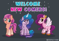 Size: 3176x2219 | Tagged: safe, artist:redpalette, izzy moonbow, pipp petals, sunny starscout, earth pony, pegasus, pony, unicorn, g5, adorapipp, braid, chest fluff, cute, female, flying, gray background, high res, izzybetes, looking at you, mare, open mouth, simple background, smiling, sparkles, sunnybetes, text, unshorn fetlocks, wings