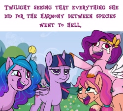 Size: 4096x3676 | Tagged: safe, artist:lilpinkghost, izzy moonbow, pipp, sunny starscout, twilight sparkle, alicorn, earth pony, pegasus, pony, unicorn, g5, horn, horn impalement, hornball, laughing, laughing wolves meme, tennis ball, twilight is not amused, twilight sparkle (alicorn), unamused