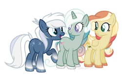 Size: 1024x654 | Tagged: safe, artist:ipandacakes, oc, oc only, oc:chakra flow, oc:diamond dust (ipandacakes), oc:taffy strings, earth pony, pegasus, pony, unicorn, female, magical lesbian spawn, mare, offspring, parent:bon bon, parent:double diamond, parent:lyra heartstrings, parent:night glider, parent:tree hugger, parent:zephyr breeze, parents:lyrabon, parents:nightdiamond, parents:zephyrhugger, simple background, transparent background, two toned wings, wings