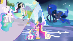 Size: 1024x577 | Tagged: safe, artist:velveagicsentryyt, princess cadance, princess flurry heart, princess luna, oc, oc:moonlight sonata, oc:mysterilestia, alicorn, hybrid, interspecies offspring, offspring, older, parent:discord, parent:king sombra, parent:princess celestia, parent:princess luna, parents:dislestia, parents:lumbra