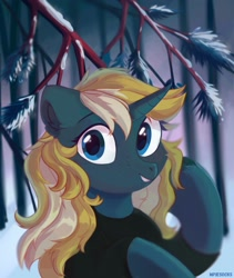 Size: 1900x2250 | Tagged: safe, artist:_mpiesocks, artist:raily, oc, oc:maple parapet, pony, unicorn, background, bust, clothes, drifts, female, looking at you, loose hair, mare, portrait, snow, solo, spruce, sweater, turtleneck, winter, wood