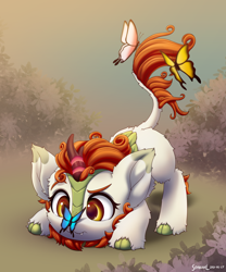 Size: 2000x2400 | Tagged: safe, artist:symbianl, autumn blaze, butterfly, kirin, :3, awwtumn blaze, big ears, butterfly on nose, cute, cute little fangs, face down ass up, fangs, female, filly, insect on nose, solo, symbianl is trying to murder us, younger
