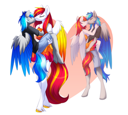 Size: 3346x3000   Tagged: safe, alternate version, artist:scarlet-spectrum, oc, oc:diamond sun, oc:hawker hurricane, pegasus, anthro, unguligrade anthro, amazon, bridal carry, carrying, clothes, colored wings, commission, eyes closed, female, hawkmond, hearts and hooves day, kissing, love, male, mare, romantic, sarong, shirt, shorts, simple background, size difference, skirt, stallion, straight, wings