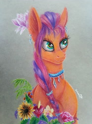 Size: 2988x4013 | Tagged: safe, artist:cahandariella, sunny starscout, earth pony, spoiler:g5, coloured pencil, flower, flower in hair, g5, jewelry, magnolia, solo, traditional art