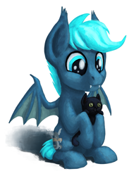 Size: 1213x1600 | Tagged: safe, artist:sa1ntmax, oc, oc:guttatus, bat pony, cat, bat pony oc, black cat, cute, holding, male, sitting, wings