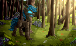 Size: 4650x2850   Tagged: safe, artist:singovih, oc, oc only, oc:poison trail, original species, pony, timber pony, timber wolf, fangs, forest, grass, male, open mouth, shine, smoke, solo, species swap, stallion, stone, tree