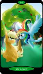 Size: 1500x2591   Tagged: safe, artist:sixes&sevens, applejack, rainbow dash, apple, apple tree, appledash, female, flying, freckles, hat thief, intertwined trees, lesbian, major arcana, missing accessory, pear tree, shipping, tarot card, teasing, the lovers, tree