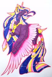 Size: 1920x2833 | Tagged: safe, artist:oneiria-fylakas, twilight sparkle, alicorn, pony, the last problem, alternate design, older, older twilight, princess twilight 2.0, solo, traditional art, twilight sparkle (alicorn)