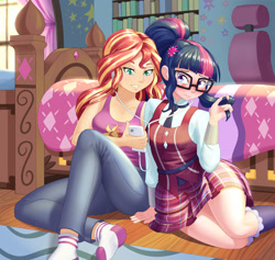 Size: 1920x1818 | Tagged: safe, artist:dstears, sci-twi, sunset shimmer, twilight sparkle, equestria girls, bedroom, blushing, cellphone, clothes, crystal prep academy uniform, duo, duo female, earbuds, female, headphones, human coloration, implied lesbian, implied shipping, lesbian, missing shoes, phone, school uniform, scitwishimmer, shipping, sleeveless, smartphone, socks, stocking feet, sunsetsparkle, tanktop