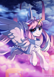 Size: 2000x2825 | Tagged: safe, artist:redchetgreen, oc, oc:night sky, alicorn, pony, alicorn oc, blue eyes, female, flying, high res, horn, mare, solo, wings