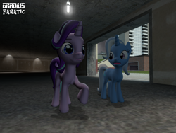 Size: 2048x1536 | Tagged: safe, artist:gradiusfanatic, starlight glimmer, trixie, unicorn, 3d, female, gmod, storm