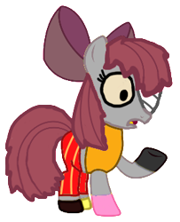 Size: 273x337 | Tagged: safe, apple bloom, alternate universe, bandage, bow, clothes, disfigured, hair bow, messy mane, one eye, one eye covered, pants, robble bloom, shirt, shoes