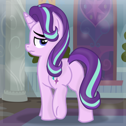 Size: 3000x3000 | Tagged: safe, alternate version, artist:grapefruitface1, starlight glimmer, pony, unicorn, base used, butt, confused, female, hallway, indoors, looking at you, mare, plot, show accurate