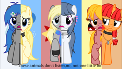 Size: 1280x720 | Tagged: safe, edit, edited screencap, screencap, pony, aiko kikyuune, ariella, chiyoko hibanane, namida, neko kanochi, ponified, recolor, reni kaeru, utauloid, what my cutie mark is telling me