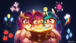 Size: 2560x1440 | Tagged: safe, artist:anticular, izzy moonbow, pipp petals, sunny starscout, earth pony, pegasus, pony, unicorn, g5, adorapipp, applejack's cutie mark, ball, book, book of harmony, cute, cutie mark, female, fluttershy's cutie mark, g4 to g5, glowing, horn, horn guard, horn impalement, hornball, implied mane six, izzy's tennis ball, izzybetes, mare, pinkie pie's cutie mark, rainbow dash's cutie mark, rarity's cutie mark, reading, sunnybetes, tennis ball, twilight sparkle's cutie mark