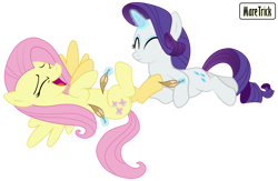 Size: 1106x722 | Tagged: safe, artist:maretrick, fluttershy, rarity, belly tickling, cute, female, hoof tickling, laughing, levitation spell, lying down, on back, raribetes, shyabetes, smiling, tickling