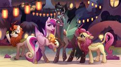 Size: 2703x1500 | Tagged: safe, artist:28gooddays, autumn blaze, fluttershy, peewee, princess cadance, queen chrysalis, alicorn, changeling, changeling queen, kirin, phoenix, pony, female