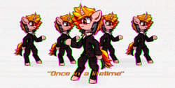Size: 791x400 | Tagged: safe, artist:mjsw, oc, oc only, oc:majuvelliy, clothes, female, mare, music reference, reference, solo, suit