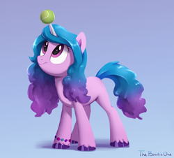 Size: 1560x1408 | Tagged: safe, artist:thebowtieone, izzy moonbow, pony, unicorn, g5 movie, spoiler:g5, spoiler:g5 movie, female, g5, gradient background, horn, horn impalement, hornball, looking up, mare, signature, solo, tennis ball, unshorn fetlocks