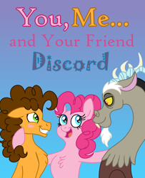Size: 650x800 | Tagged: safe, alternate version, artist:tempestcord, cheese sandwich, discord, pinkie pie, draconequus, earth pony, pony, cheesepie, discopie, fanfic art, female, gradient background, grin, male, nervous, nervous grin, polyamory, shipping, smiling, straight, text