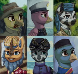 Size: 1280x1206 | Tagged: safe, artist:monx94, oc, oc only, griffon, kirin, zebra, equestria at war mod, compilation, crown, hat, indonesia, indonesian, jewelry, looking at you, looking up, military, regalia, smiling, smiling at you