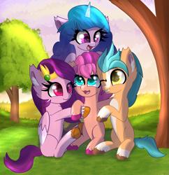 Size: 5659x5845 | Tagged: safe, artist:windykirin, hitch trailblazer, izzy moonbow, pipp, sunny starscout, earth pony, pegasus, pony, unicorn, cute, g5, grass, group hug, hug, sitting, sunset, tree