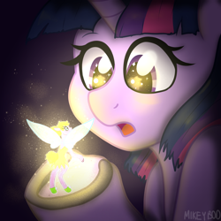 Size: 2000x2000 | Tagged: safe, artist:mikeyboo, derpibooru exclusive, twilight sparkle, alicorn, pony, cute, glow, ponified, surprised, tinkerbell, twiabetes, twilight sparkle (alicorn)