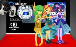 Size: 680x419 | Tagged: safe, artist:kingjulianpoland, sci-twi, sunset shimmer, twilight sparkle, oc, equestria girls