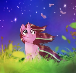 Size: 2048x1980 | Tagged: safe, artist:kurogewapony, starlight glimmer, pony, unicorn, crying, looking up, night, smilng, solo, stars, windswept mane