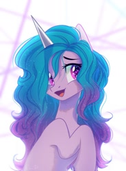 Size: 1398x1900 | Tagged: safe, artist:maybeweed, izzy moonbow, pony, unicorn, cute, female, g5, izzybetes, mare, open mouth, raised hoof, solo