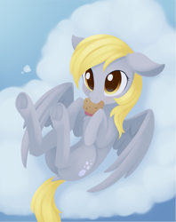 Size: 1221x1544 | Tagged: safe, artist:dusthiel, derpy hooves, pegasus, blushing, cloud, cute, derpabetes, food, frog (hoof), lying down, mouth hold, muffin, on back, underhoof